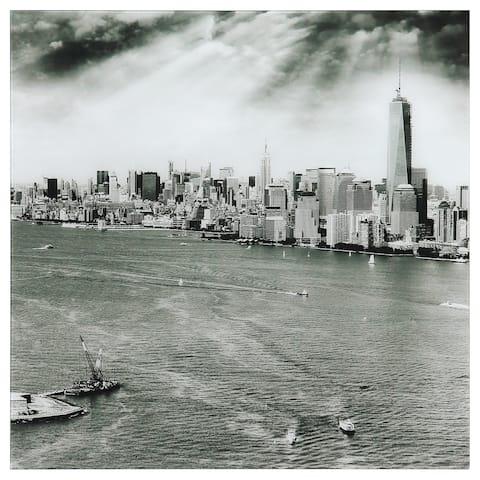 """""""New York Skyline B"""" Frameless Free Floating Tempered Art Glass Wall Art"""