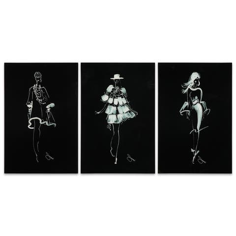 """Fashion Walk - Set of 3"" Graphic Wall Art on Tempered Glass"