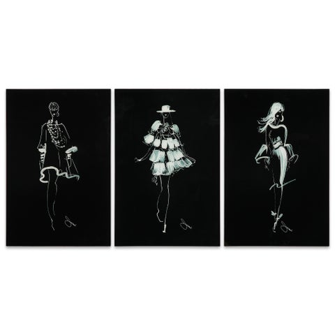"""Empire Art """"Fashion Walk - Set of 3"""" Frameless Free Floating Tempered Art Glass by EAD Art Coop"""