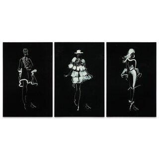 "Empire Art ""Fashion Walk - Set of 3"" Frameless Free Floating Tempered Art Glass by EAD Art Coop"