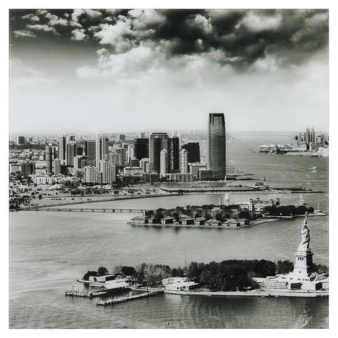 """New York Skyline A"" Graphic Wall Art on Free Floating Tempered Glass"