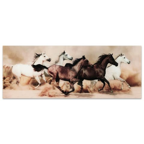 """Stampede"" Horses Wall Art Printed on Free Floating Tempered Glass"