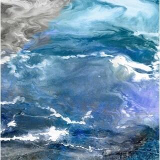 "Empire Art ""Glistening Tide B"" Frameless Free Floating Tempered Art Glass by EAD Art Coop"