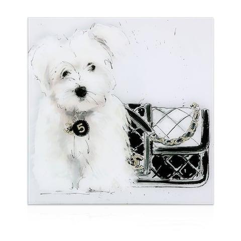 """Black and White"" Dog Wall Art Frameless Free Floating Tempered Art Glass"
