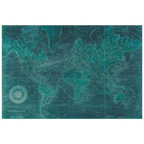 World Map Graphic Wall Art on Free Floating Tempered Glass Panel