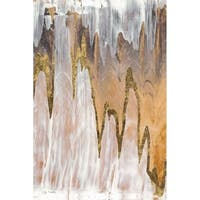 "Empire Art ""Gold Mountains B"" Frameless Free Floating Tempered Art Glass by EAD Art Coop"
