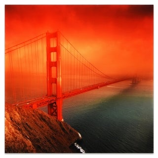 "Empire Art ""Golden Gate"" Frameless Free Floating Tempered Art Glass by EAD Art Coop"