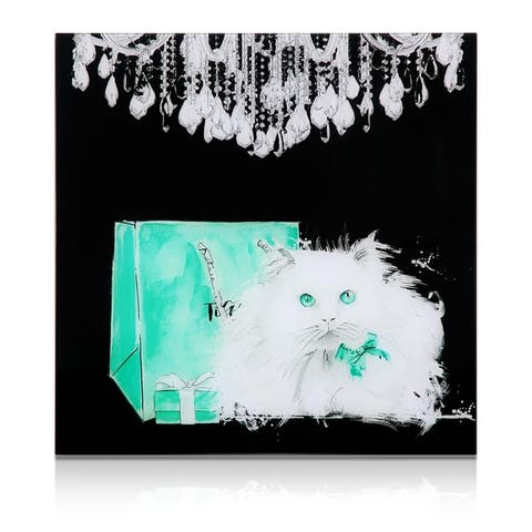 "Empire Art ""Snowball"" Frameless Free Floating Tempered Art Glass by EAD Art Coop"