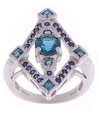 Glitzy Rocks Sterling Silver Sapphire and Blue Topaz Ring