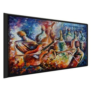 Bottle Jazz-2 ' by Leonid Afremov Framed Oil Painting Print on Canvas