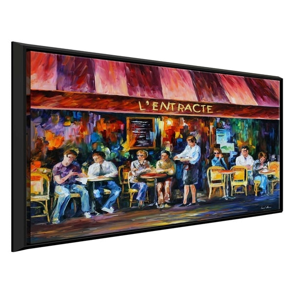 Cafe In Paris Iii ' by Leonid Afremov Framed Oil Painting Print on Canvas