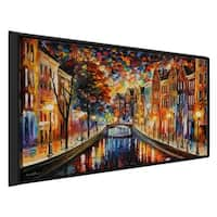 Amsterdam, Night Canal ' by Leonid Afremov Framed Oil Painting Print on Canvas