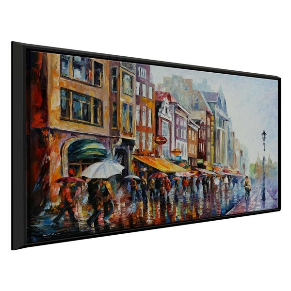 Amsterdams Rain ' by Leonid Afremov Framed Oil Painting Print on Canvas