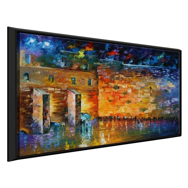 City At Night ' by Leonid Afremov Framed Oil Painting Print on Canvas