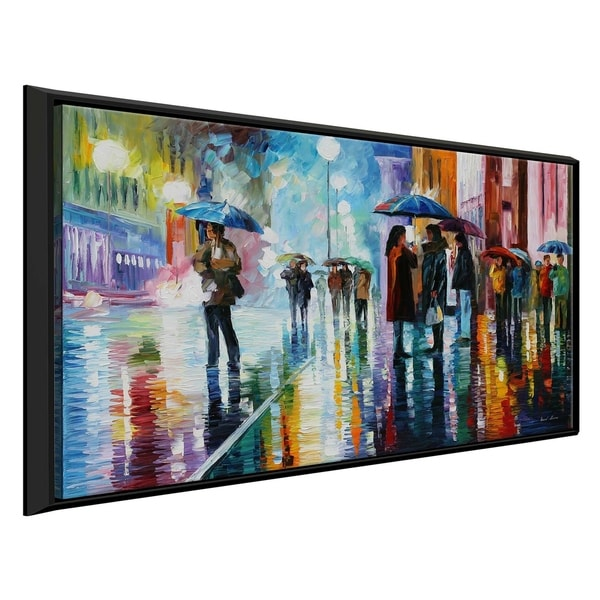 Bus Stop - Under The Rain ' by Leonid Afremov Framed Oil Painting Print on Canvas