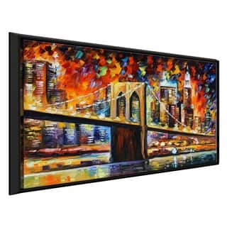 Brooklyn Bridge ' by Leonid Afremov Framed Oil Painting Print on Canvas