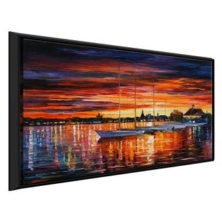 Helsinki - Sailboats At Yacht Club ' by Leonid Afremov Framed Oil Painting Print on Canvas