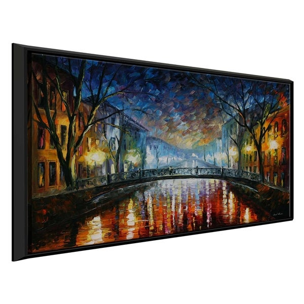 Misty Bridge ' by Leonid Afremov Framed Oil Painting Print on Canvas