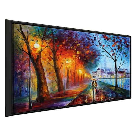 City By The Lake ' by Leonid Afremov Framed Oil Painting Print on Canvas