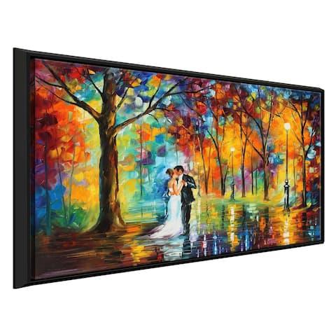 Rainy Wedding ' by Leonid Afremov Framed Oil Painting Print on Canvas