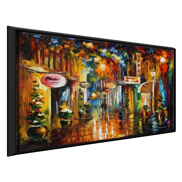 Old City Street ' by Leonid Afremov Framed Oil Painting Print on Canvas