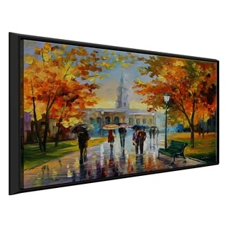 Stroll In An October Park ' by Leonid Afremov Framed Oil Painting Print on Canvas