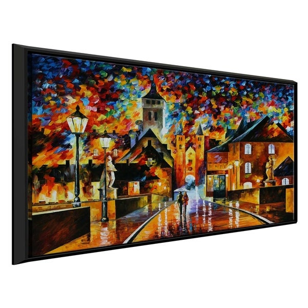 Night In The Old City ' by Leonid Afremov Framed Oil Painting Print on Canvas