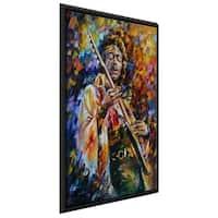 Jimi Hendrix ' by Leonid Afremov Framed Oil Painting Print on Canvas