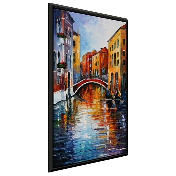 Canal In Venice ' by Leonid Afremov Framed Oil Painting Print on Canvas