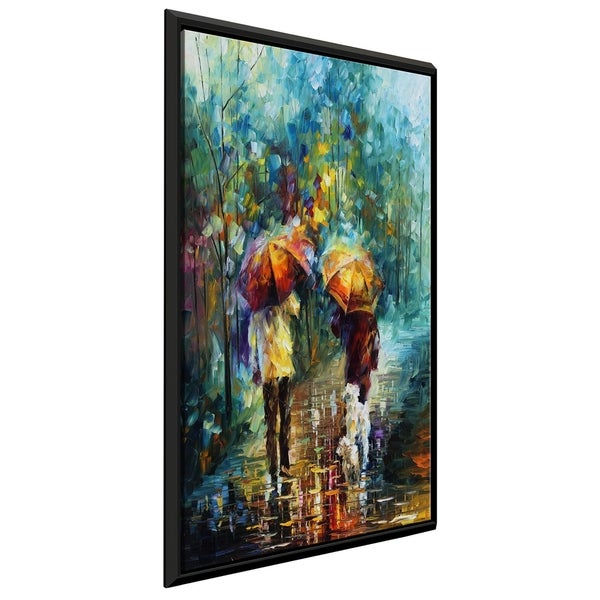 Friends With A Dog ' by Leonid Afremov Framed Oil Painting Print on Canvas