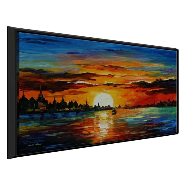 Sunrise In The Harbor ' by Leonid Afremov Framed Oil Painting Print on Canvas