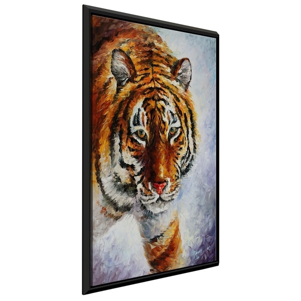 Tiger On The Snow ' by Leonid Afremov Framed Oil Painting Print on Canvas