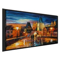 Night In Prague ' by Leonid Afremov Framed Oil Painting Print on Canvas