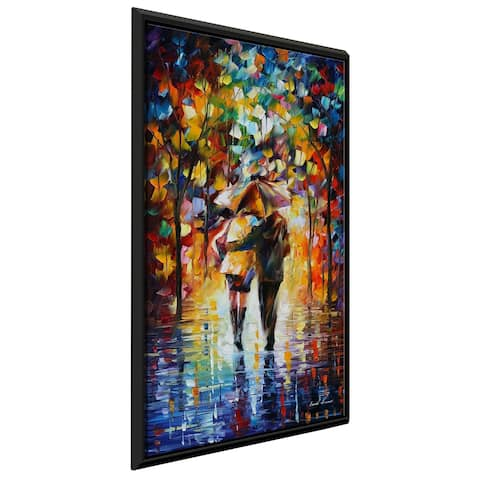 Bonded By The Rain Ii ' by Leonid Afremov Framed Oil Painting Print on Canvas