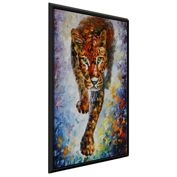 Snow Leopard ' by Leonid Afremov Framed Oil Painting Print on Canvas