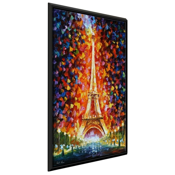 Paris -Eifel Tower Lighted ' by Leonid Afremov Framed Oil Painting Print on Canvas