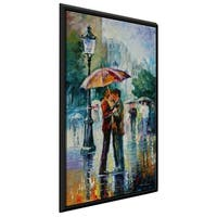 Rainy Kiss ' by Leonid Afremov Framed Oil Painting Print on Canvas