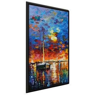 Sail Boat ' by Leonid Afremov Framed Oil Painting Print on Canvas