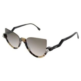 Fendi Cat-Eye FF 0138S Blink N76 Women Havana Shiny Black Frame Brown Mirror Gradient Lens Sunglasses