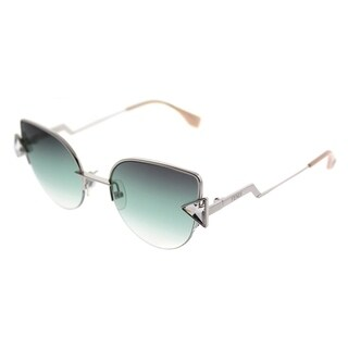 Fendi Cat-Eye FF 0242S Rainbow VGV Women Silver Green Frame Green Violet Lens Sunglasses