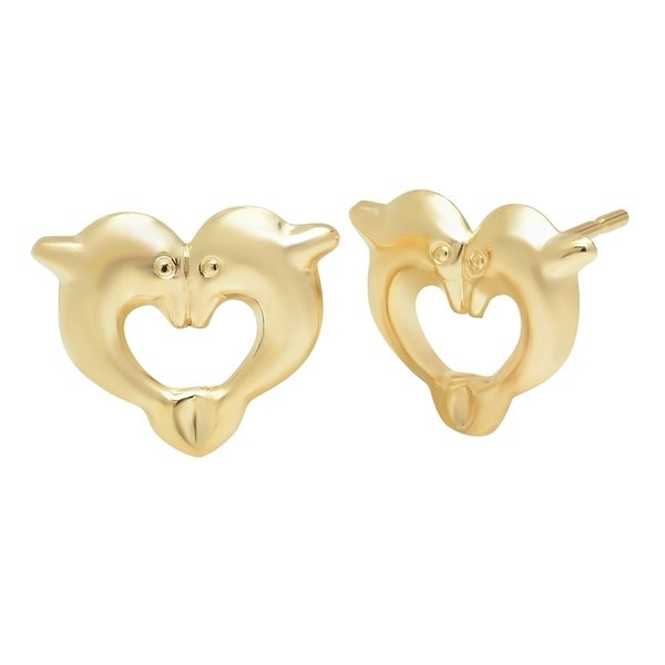 Pori Jewelers 14k Solid Gold Heart Dolphin Stud Earrings Boxed