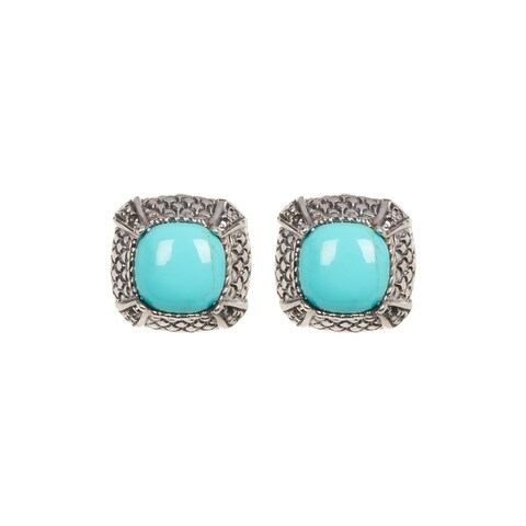 Pori Jewelers Sterling Silver Bali & Turquoise Stud Earrings