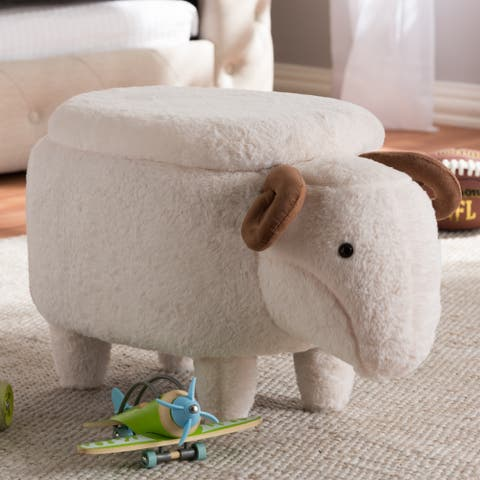 Contemporary Wool Upholstered Sheep Ottoman by Baxton Studio