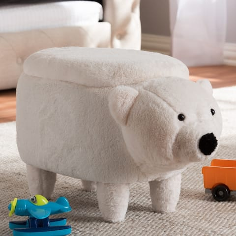 Contemporary Wool Upholstered Bear Ottoman by Baxton Studio