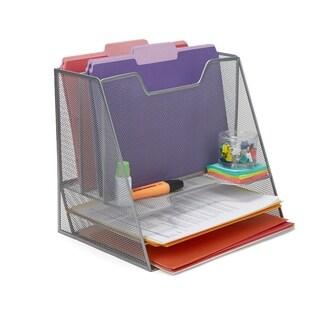 Mind Reader 5 Compartment Mesh Desk Storage Organizer, Silver