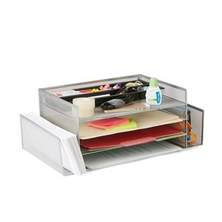 Mind Reader Desk Organizer with 2 Side Storage Compartments, Silver