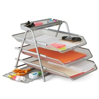 Mind Reader Metal Mesh 3 Tier File Tray, Silver