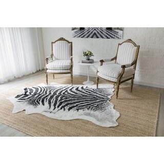"Erin Gates by Momeni Acadia Zebra Black Hand Woven Wool Area Rug - 5'3"" x 7'10"""