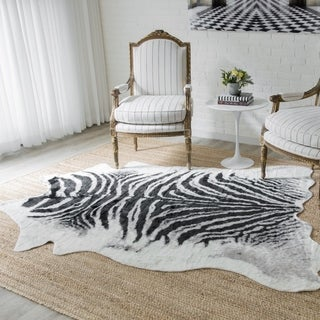 "Erin Gates by Momeni Acadia Zebra Black Hand Woven Wool Area Rug - 5'3"" x 7'10"""