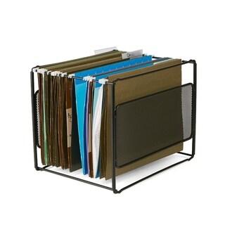 Mind Reader Metal Mesh Hanging Folder File Organizer, Black